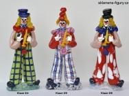 Figurky klaunů ze skla s trubkou