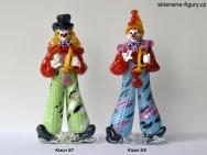 Skleněné figurky klaunů s trubkou
